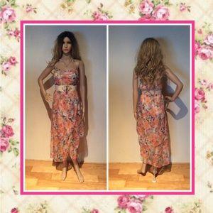 🌸 Floral pastel chiffon halter top maxi dress